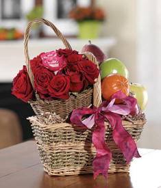 Fruit & Roses Gift Basket