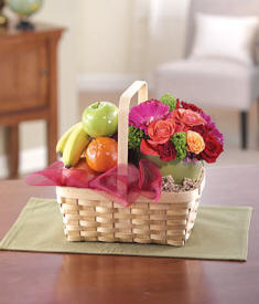 Fruit & Flowers Gift Basket