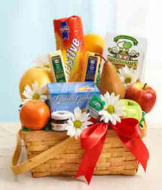 Fruit Basket With Gourmet Foods and Flowers $59.99