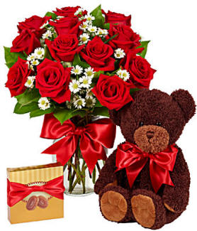 Roses, Teddy Bear and Chocolate