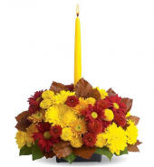 Thanksgiving Flower Centerpiece with Candle 39.95